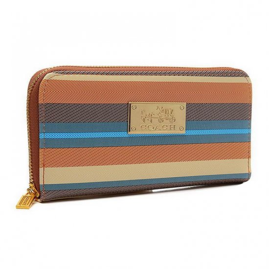 Coach Poppy Striped Large Brown Multi Wallets EVE