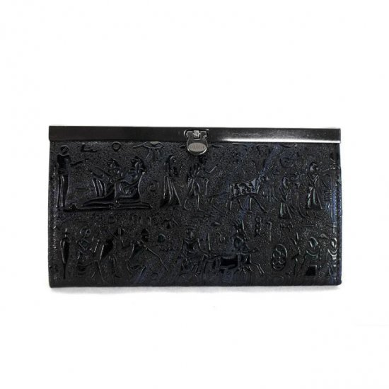 Coach Egyptian Wall Painting Large Black Wallets EEA