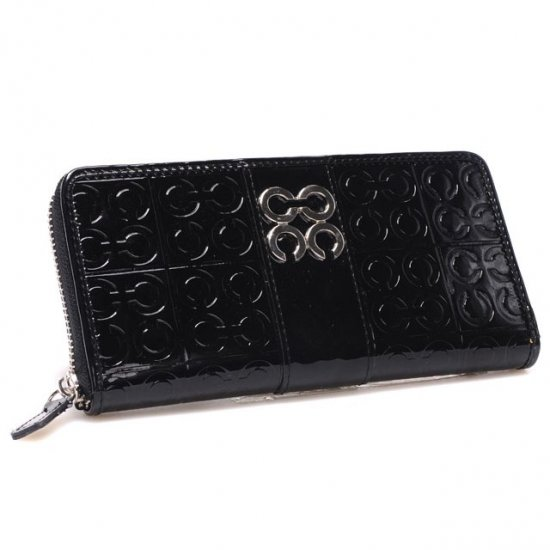 Coach Logo Monogram Large Black Wallets CHQ