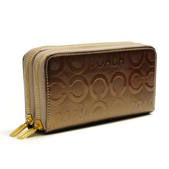 Coach In Signature Large Gold Wallets ARZ