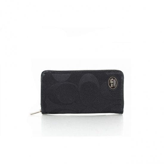 Coach Big Logo Signature Small Black Wallets FEW