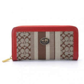 Coach Legacy Accordion Zip In Signature Large Red Khaki Wallets EGM