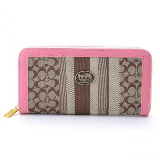 Coach Legacy Accordion Zip In Signature Large Pink Khaki Wallets EGQ