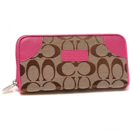 Coach Legacy Logo Signature Large Pink Wallets DTV