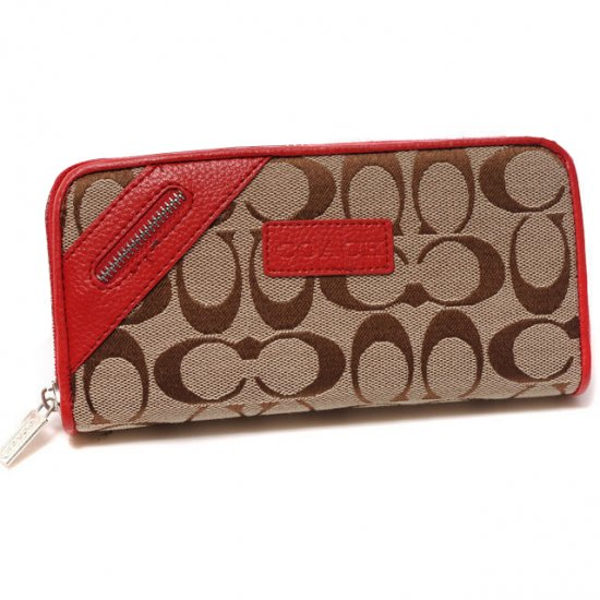 Coach Zip In Signature Large Red Wallets DUH