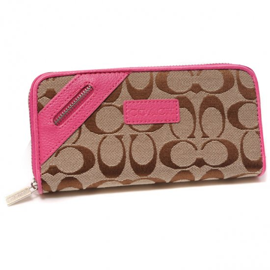 Coach Zip In Signature Large Pink Wallets DUI