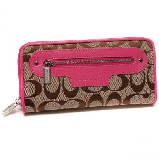 Coach Zip In Monogram Large Pink Wallets DUM