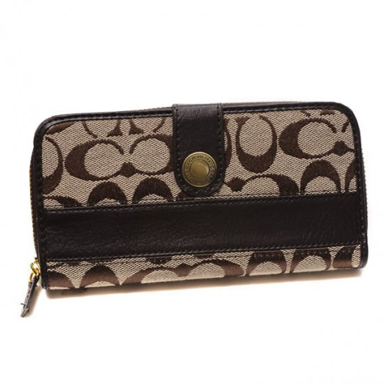 Coach In Signature Large Coffee Wallets CJL