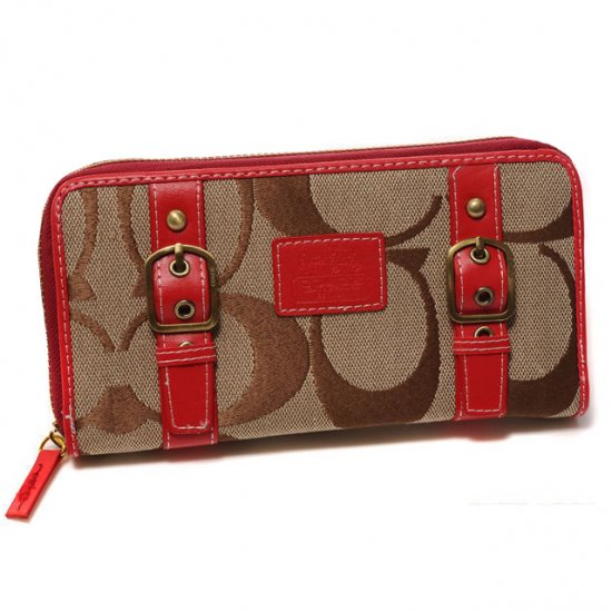 Coach Double Buckle Logo Large Red Wallets CJT