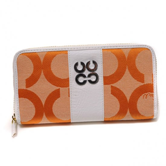 Coach Logo Signature Large Orange Wallets CJW