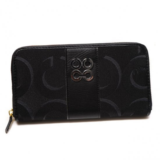 Coach Logo Signature Large Black Wallets CJZ