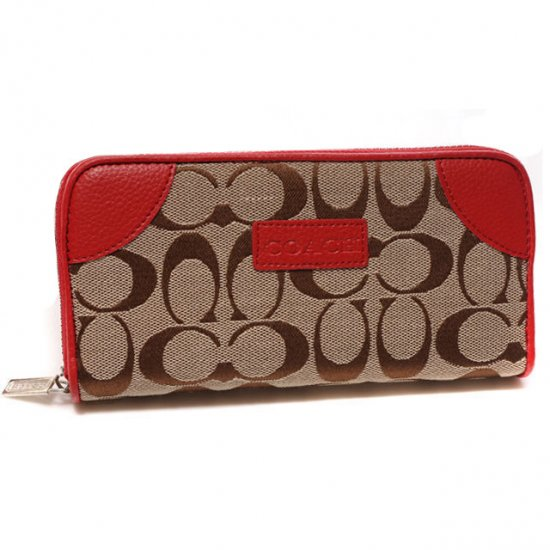 Coach Legacy Logo Signature Large Red Wallets CKI