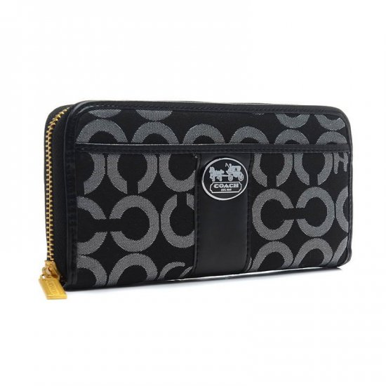 Coach Legacy In Signature Large Black Wallets BVR