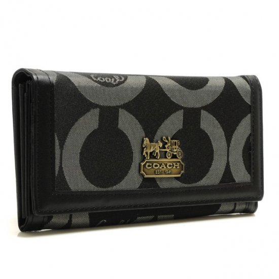 Coach Legacy Legacy Logo Signature Large Black Wallets BRW