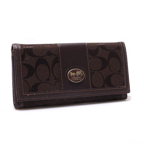 Coach Legacy Slim Envelope in Signature Large Coffee Wallets BLL