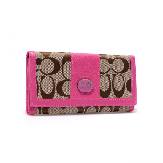 Coach Legacy Slim Envelope in Signature Large Pink Wallets BLO