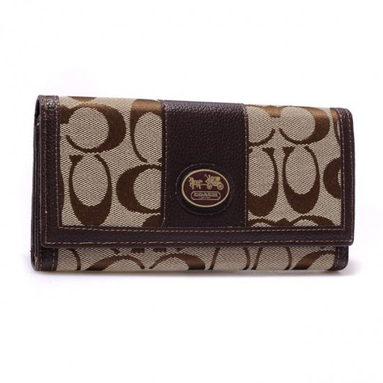 Coach Legacy Slim Envelope in Signature Large Coffee Wallets BLP