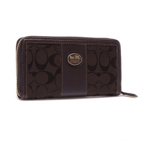 Coach Zippy In Signature Large Coffee Wallets BLR