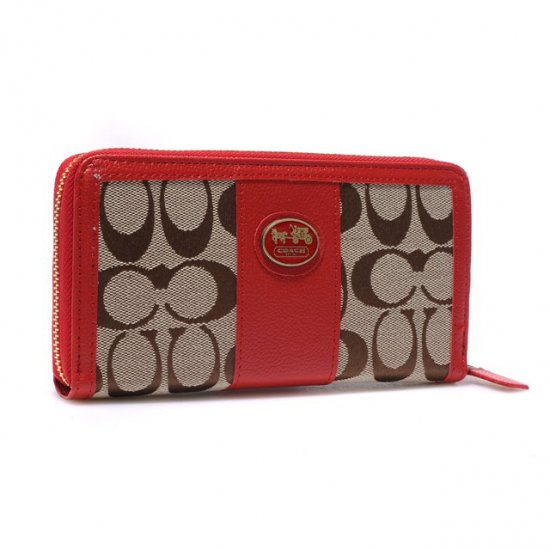 Coach Zippy In Signature Large Red Wallets BLS