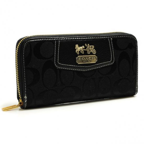Coach Logo In Signature Large Black Wallets BFW