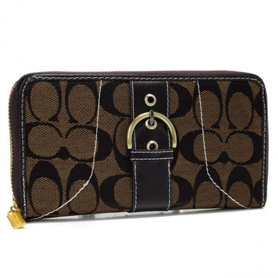Coach Buckle In Signature Large Coffee Wallets AXI