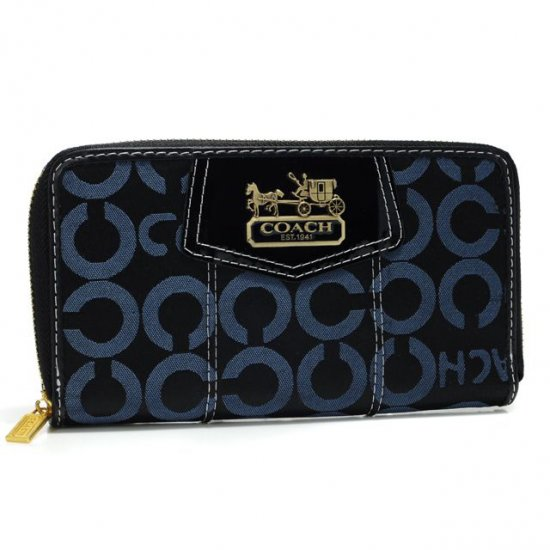Coach In Signature Large Navy Wallets AXL