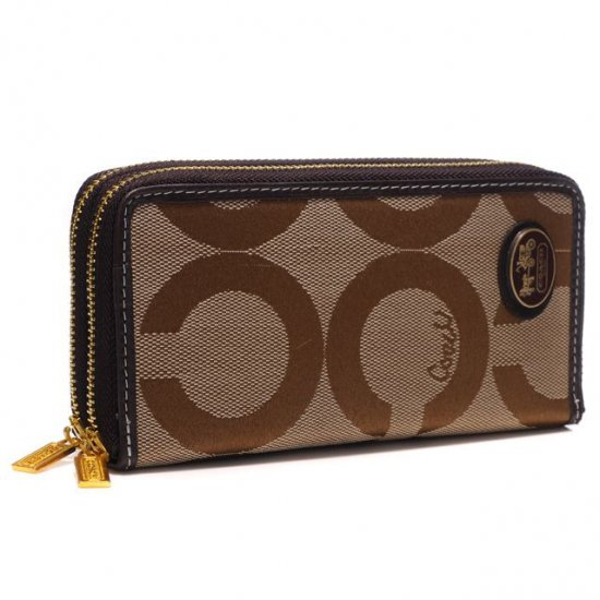 Coach Big Logo Large Camel Wallets AXV