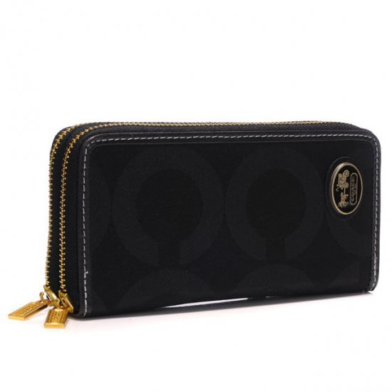 Coach Big Logo Large Black Wallets AXW