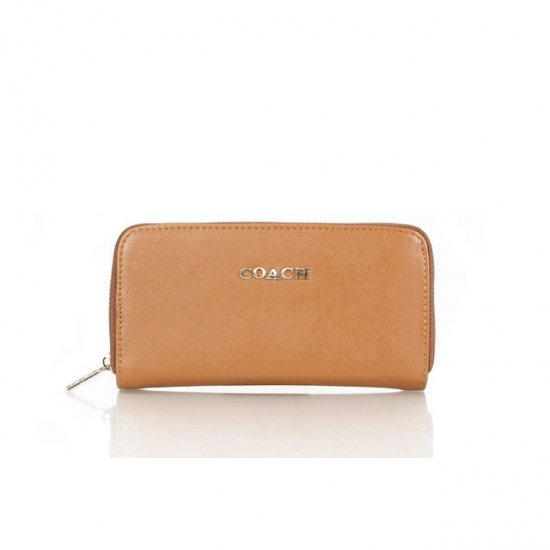 Coach Zip In Saffiano Small Brown Wallets FFF