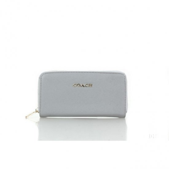 Coach Zip In Saffiano Small Grey Wallets FFL