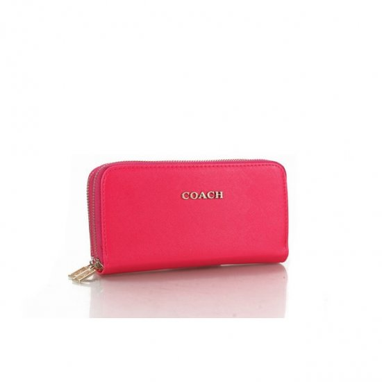 Coach Double Zip In Saffiano Small Pink Wallets FFN