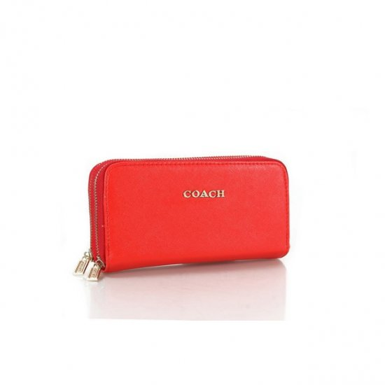 Coach Double Zip In Saffiano Small Red Wallets FFP