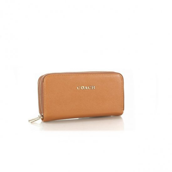 Coach Double Zip In Saffiano Small Brown Wallets FFS
