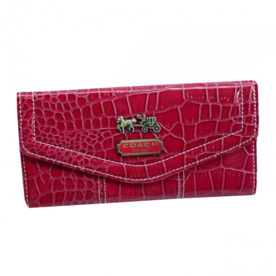 Coach Madison In Embossed Large Red Wallets EDP