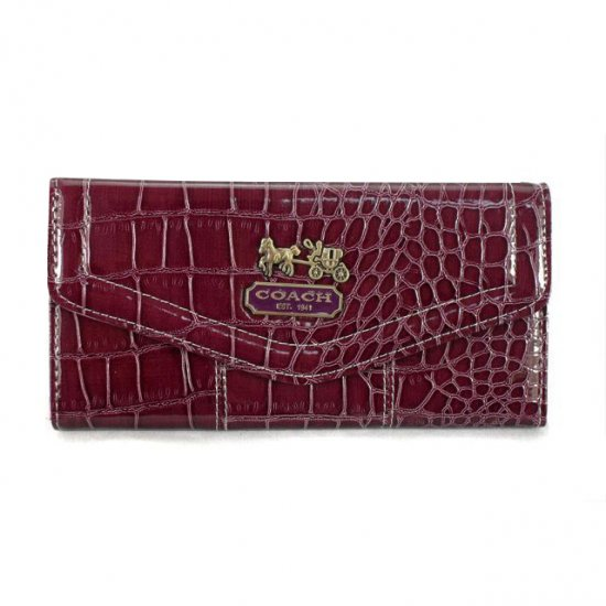 Coach Madison In Embossed Large Dark Red Wallets EDR