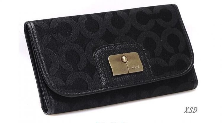 Coach Madison Checkbook Large Black Wallets CHT