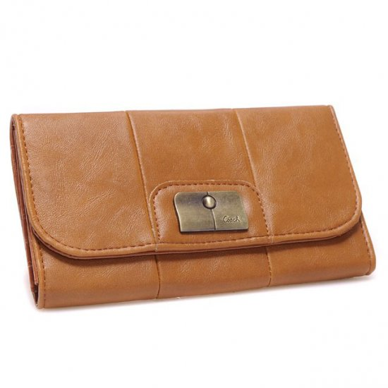 Coach Madison Checkbook Large Tan Wallets CHU