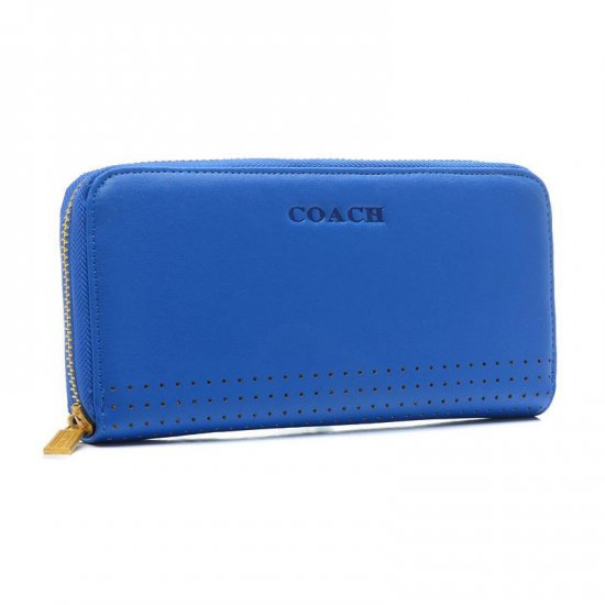 Coach Madison Perforated Large Blue Wallets BVX
