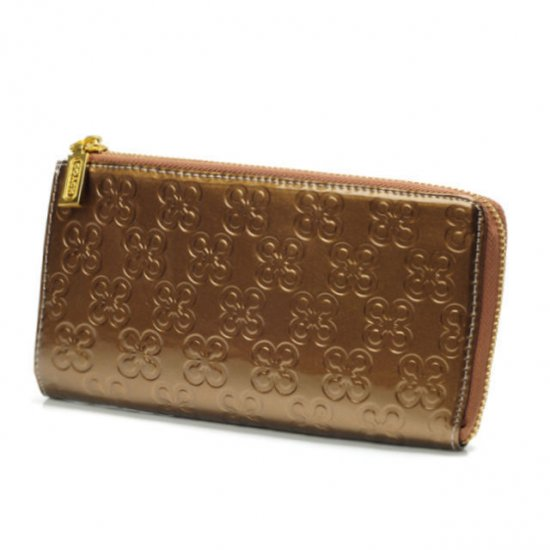 Coach Accordion Zip Large Gold Wallets DUZ