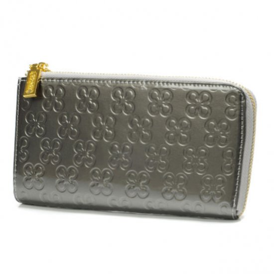Coach Accordion Zip Large Silver Wallets DVA
