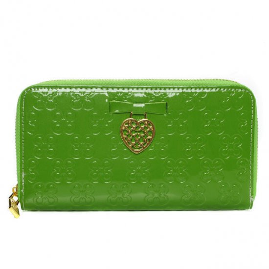 Coach Waverly Hearts Accordion Zip Large Green Wallets DVJ