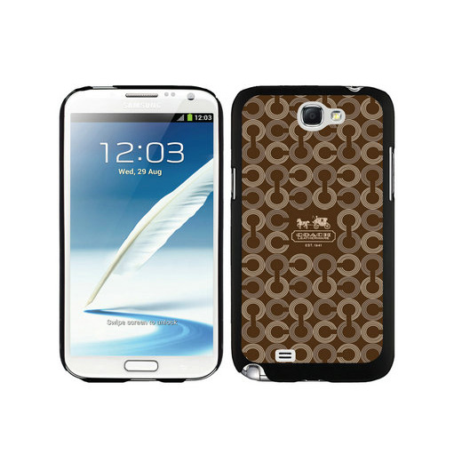 Coach Logo Monogram Brown Samsung Note 2 Cases DSU