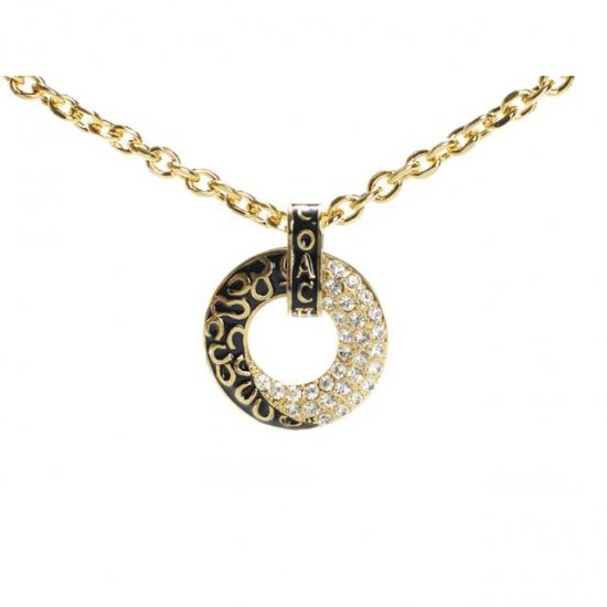 Coach Logo Circle Gold Necklaces CYE
