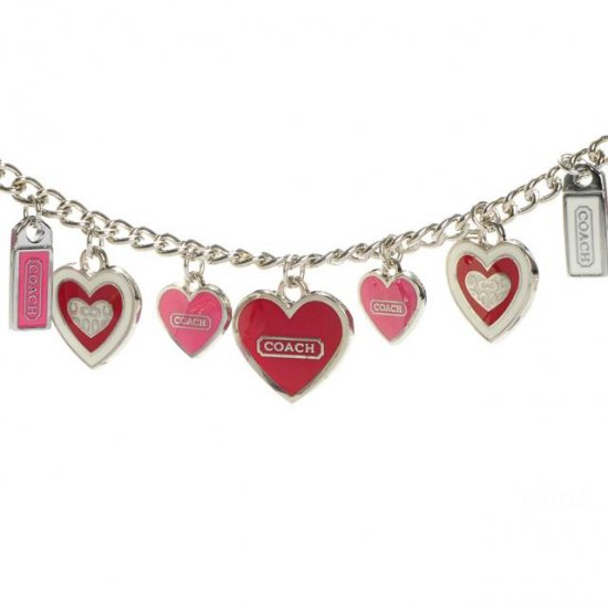 Coach Heart Float Silver Necklaces CYT