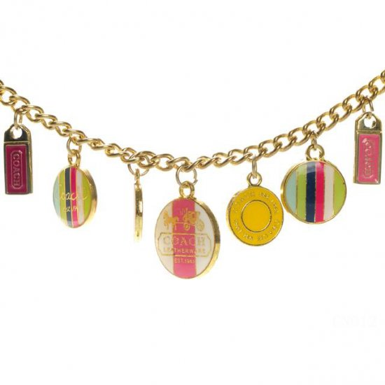 Coach Circle Charm Gold Necklaces CZD
